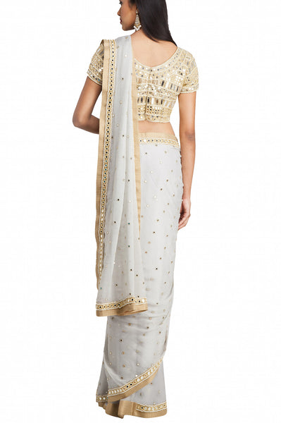Priti Sahni - Grey Shimmer Georgette Saree with Mirror Blouse