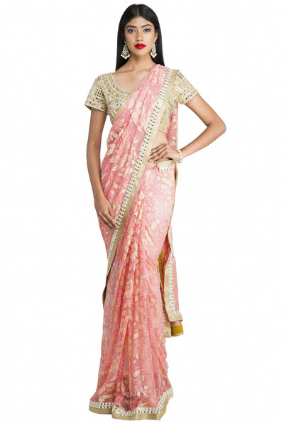 Priti Sahni - Pink Chantiilly Lace Net Saree with Mirror Blouse