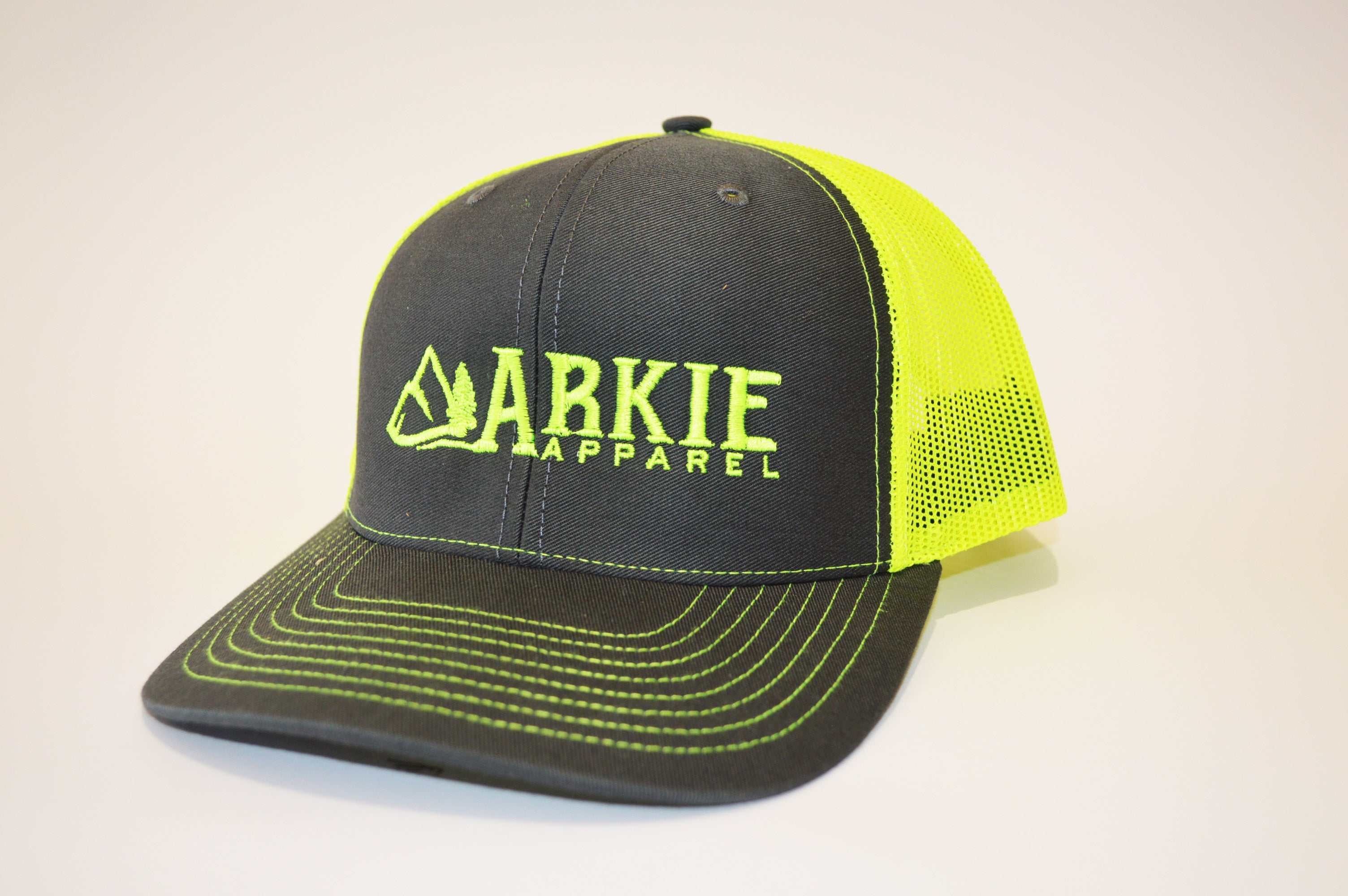 Logo Snapback Hat - Charcoal Neon Yellow by Arkie Apparel d571671cbbe6