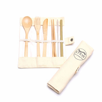 REUSABLE UTENSIL BAMBOO SET