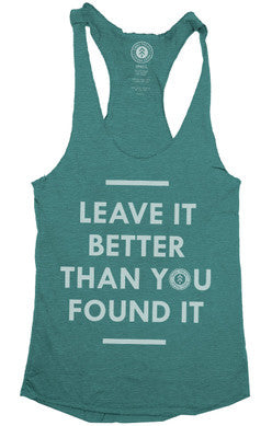 GREEN LEAVE IT BETTER RACERBACK TANK