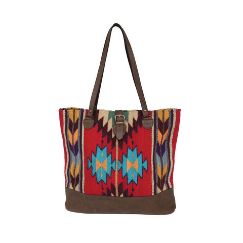 SCARLET ARROW LEATHER CARRYALL TOTE