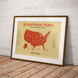 MID CENTURY NATIONAL PARKS MAP POSTER