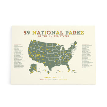 GREEN ACRES NATIONAL PARKS MAP POSTER