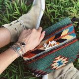 SUN + SEA WOOL WRISTLET CLUTCH