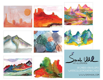 NOTECARD SET: WATERCOLOR MOUNTAINS