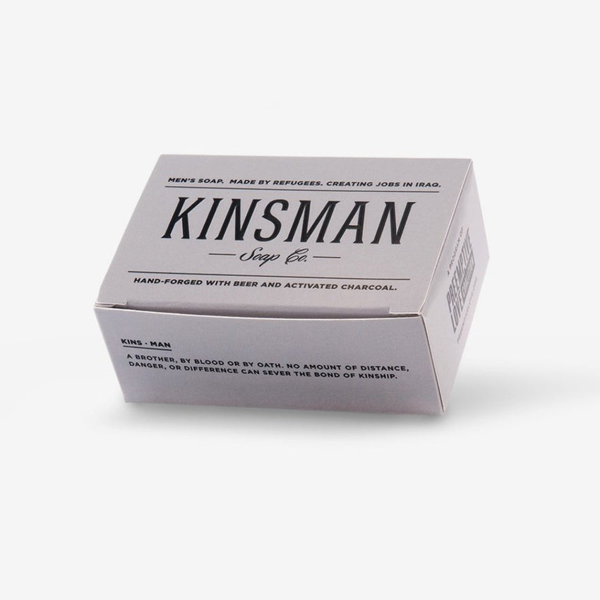 Grey Kinsman Charcoal Box with Refugee Made Hand Forged High Quality Soap