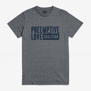 Preemptive Love Logo Tee on heather grey gray shirt with navy ink