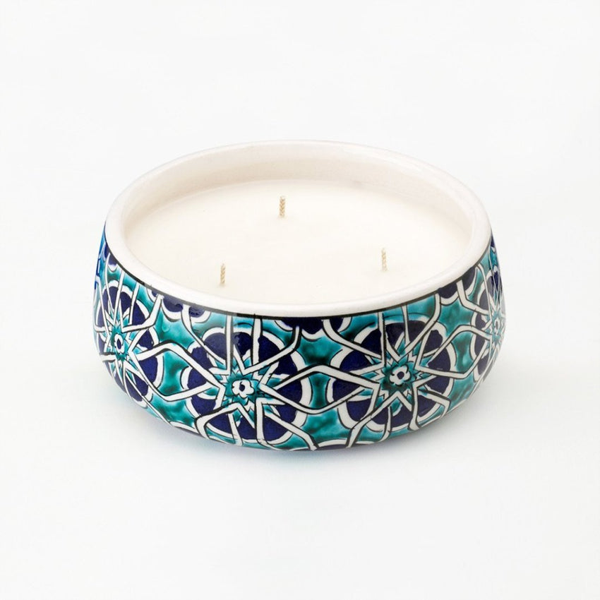 large Mosaic Road Ceramic hand poured candle