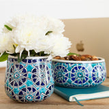 Mosaic Road Ceramic floral and snack holder reuse recycle candle holder vessel