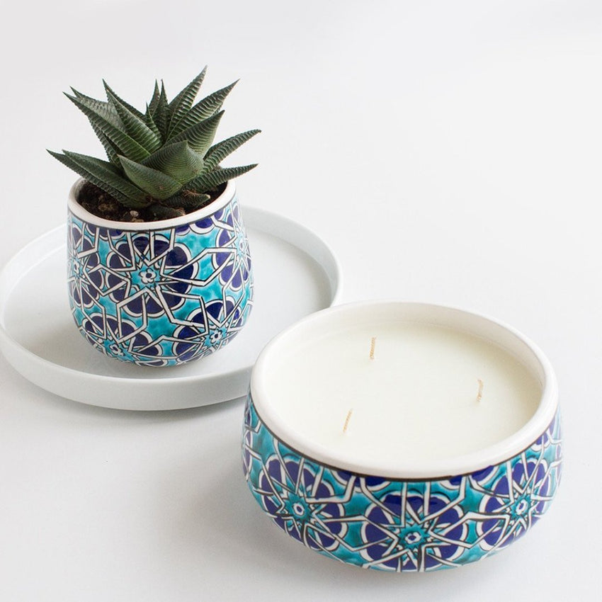 lifestyle home decor Mosaic Road Ceramic candles and planter