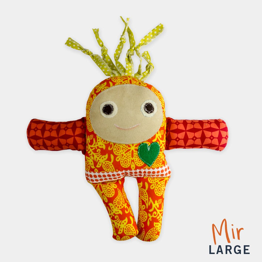 adorable children kids gift doll collectible hand knit by Israeli Jew and Palestinian Arab Women baby mir large gift yellow orange red