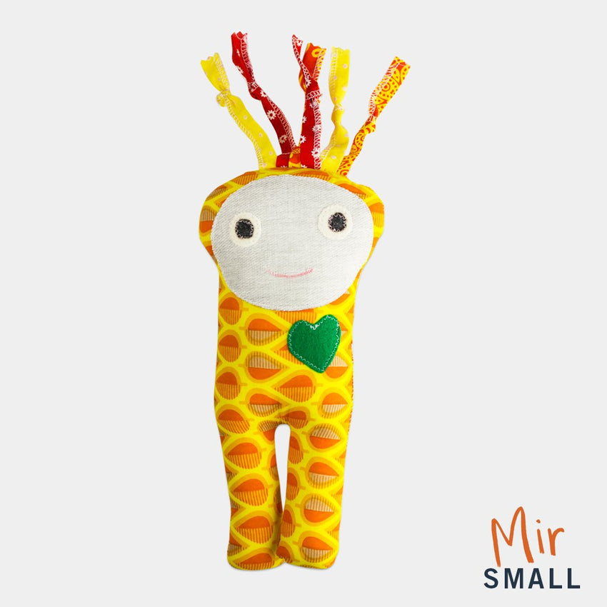 adorable children kids gift doll collectible hand knit by Israeli Jew and Palestinian Arab Women mir small yellow doll