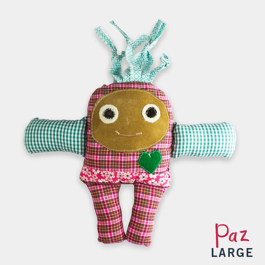 adorable children kids gift doll collectible hand knit by Israeli Jew and Palestinian Arab Women paz large