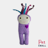 adorable children kids gift doll collectible hand knit by Israeli Jew and Palestinian Arab Women small purple