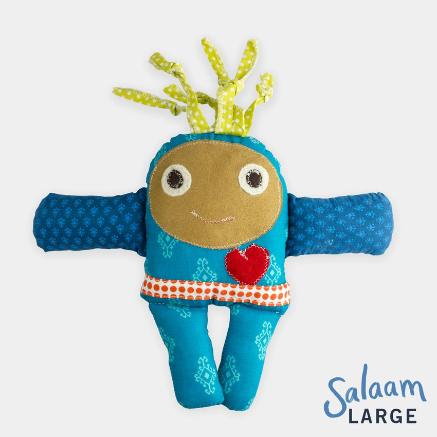 adorable children kids gift doll collectible hand knit by Israeli Jew and Palestinian Arab Women large salaam blue doll