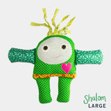 adorable children kids gift doll collectible hand knit by Israeli Jew and Palestinian Arab Women green shalom large doll