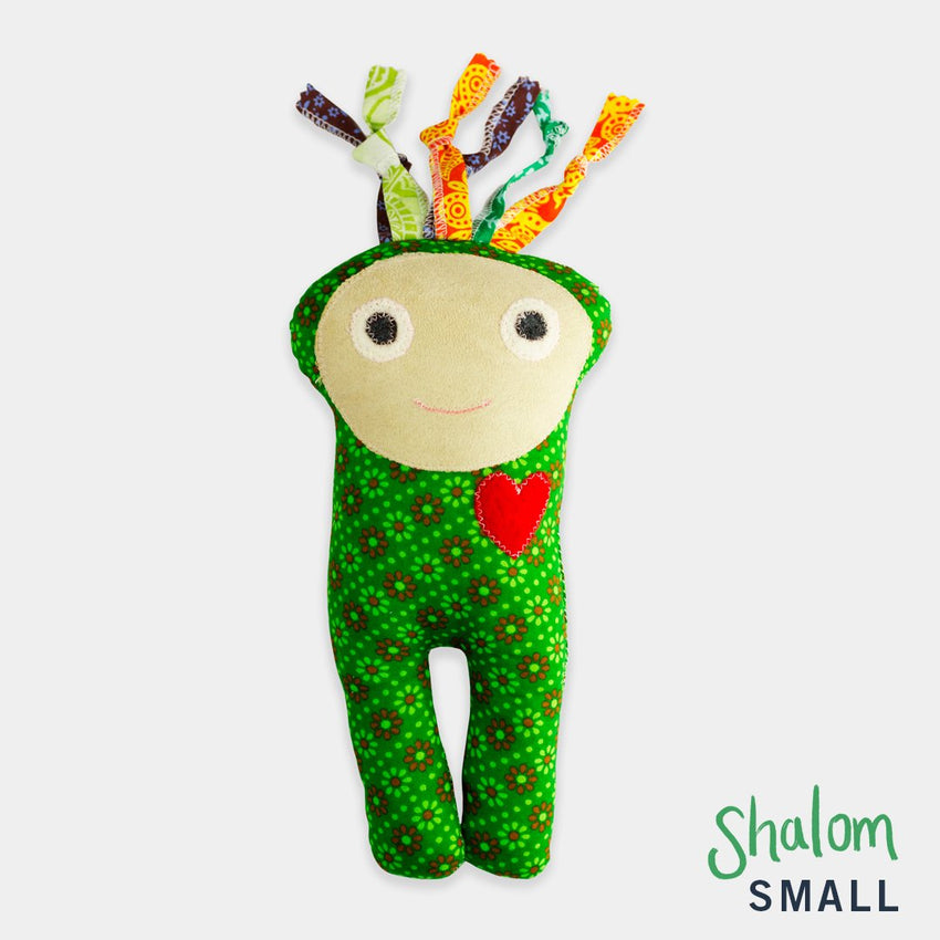 adorable children kids gift doll collectible hand knit by Israeli Jew and Palestinian Arab Women green shalom small doll
