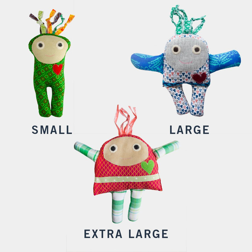 size chart for small medium and large peace dolls