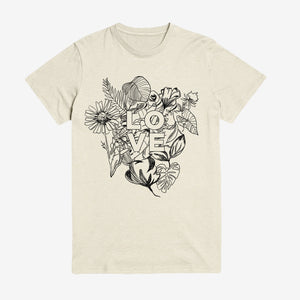 Beautiful sketched floral botanical art with Love Script unisex shirt