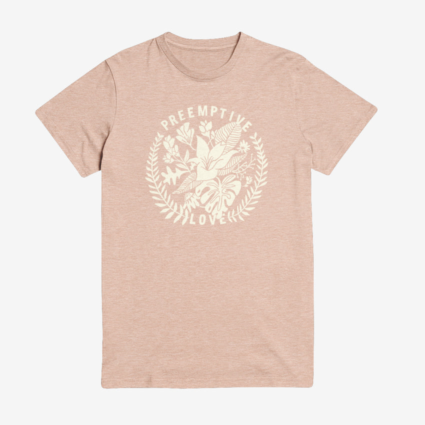 """Preemptive Love"" Unisex T-Shirt, Floral Stamp blush shirt"