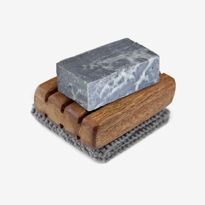 Kinsman Soap Gift Set with Red Wood Soap Dish, Charcoal Pure Olive Oil soap and wash cloth made by refugees.