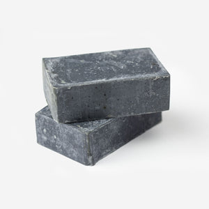 Lemongrass infused Charcoal Olive Oil soap made by refugees in Iraq stack