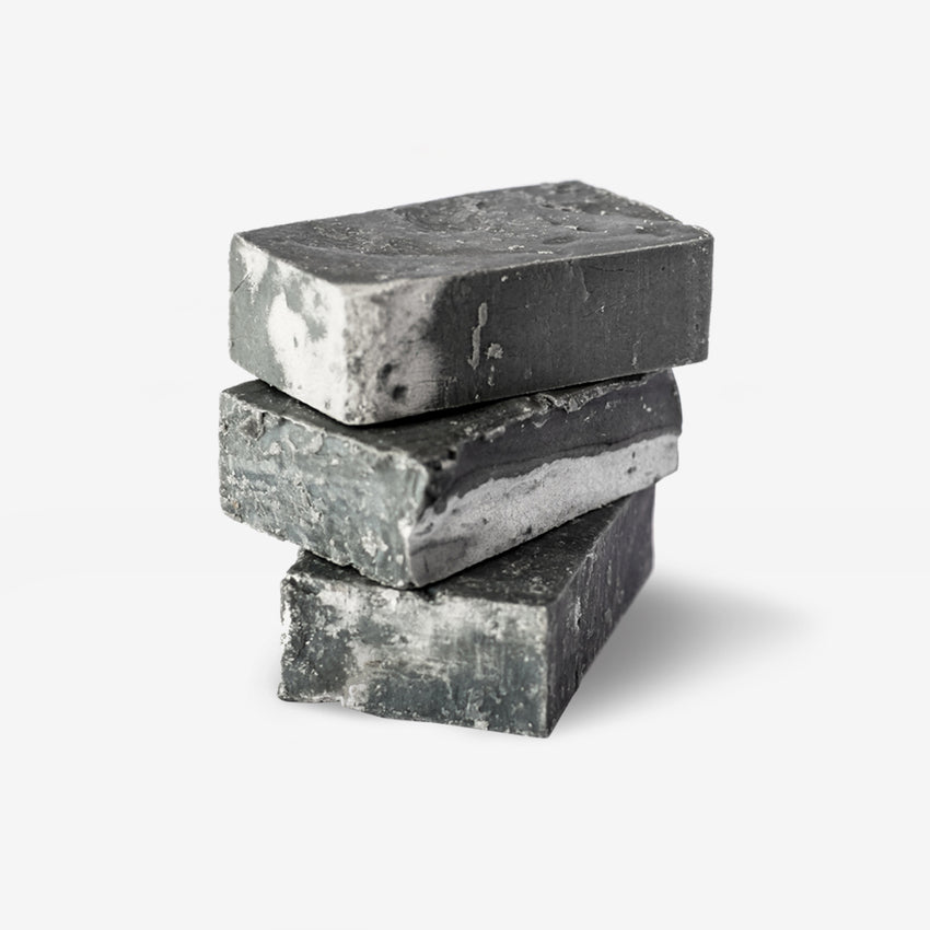 Charcoal Olive Oil Soap bars stacked