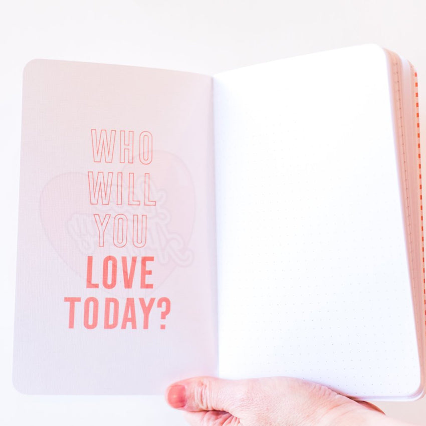 """Love Anyway"" Pink Heart Dot Journal"