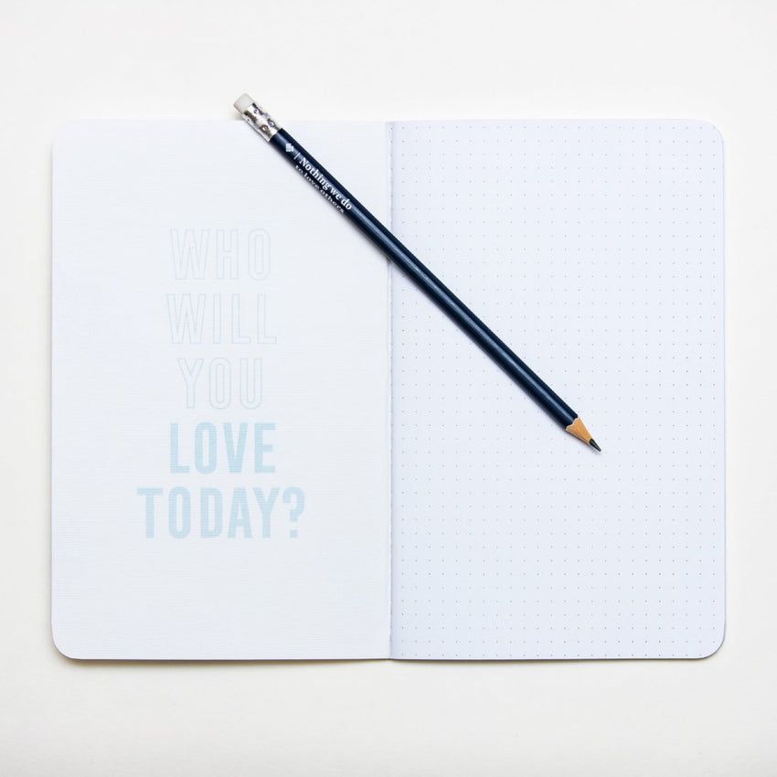 """Love Anyway"" Blue Scatter Heart Dot Journal"