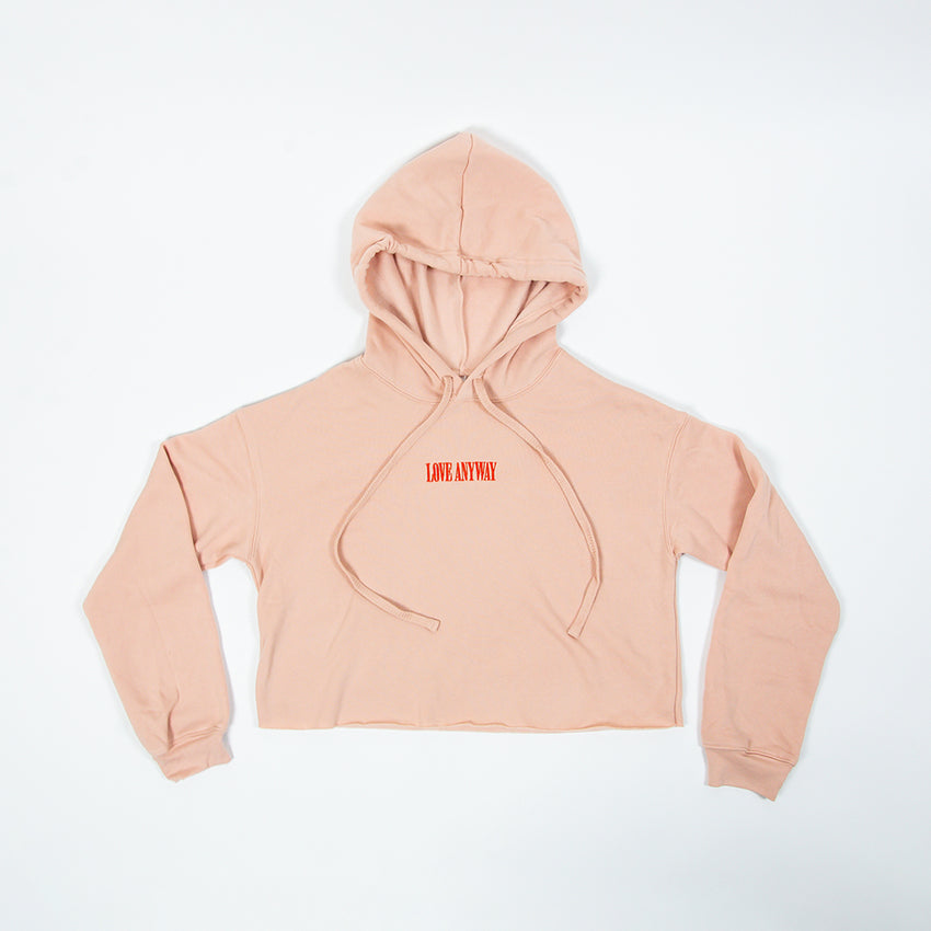 "PRESALE: ""Love Anyway"" Embroidered Crop Top Hoodie, Peach"