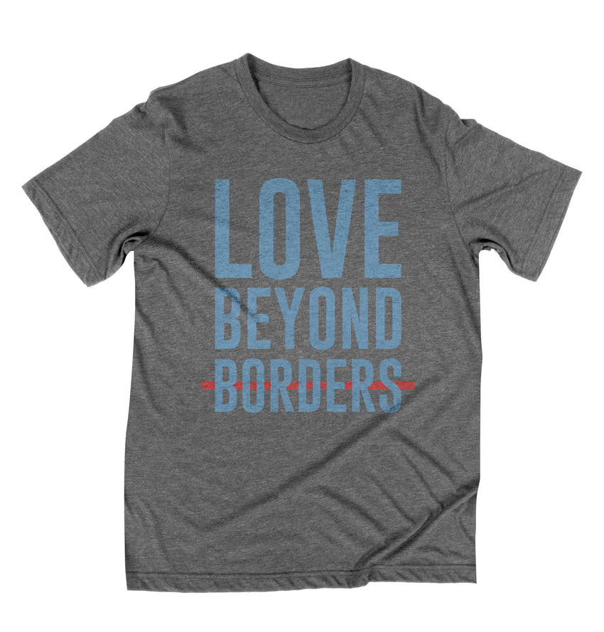 """Love Beyond Borders"" Unisex T-Shirt - Grey"