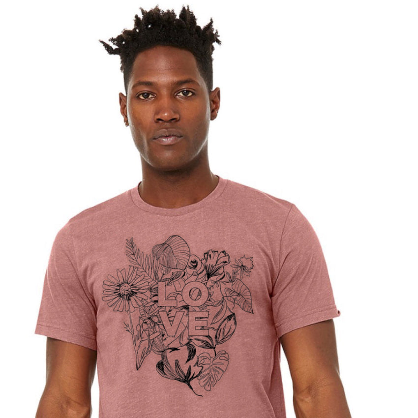 """Love"" Unisex T-Shirt, Botanical - Mauve"