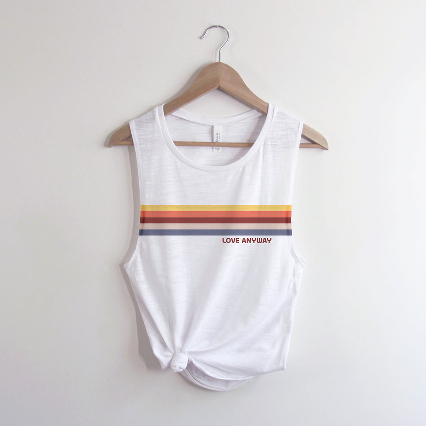 """Love Anyway"" Vintage Stripe Women's Flowy Muscle Tank Top"