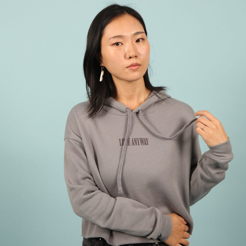 "PRESALE: ""Love Anyway"" Embroidered Crop Top Hoodie, Storm"