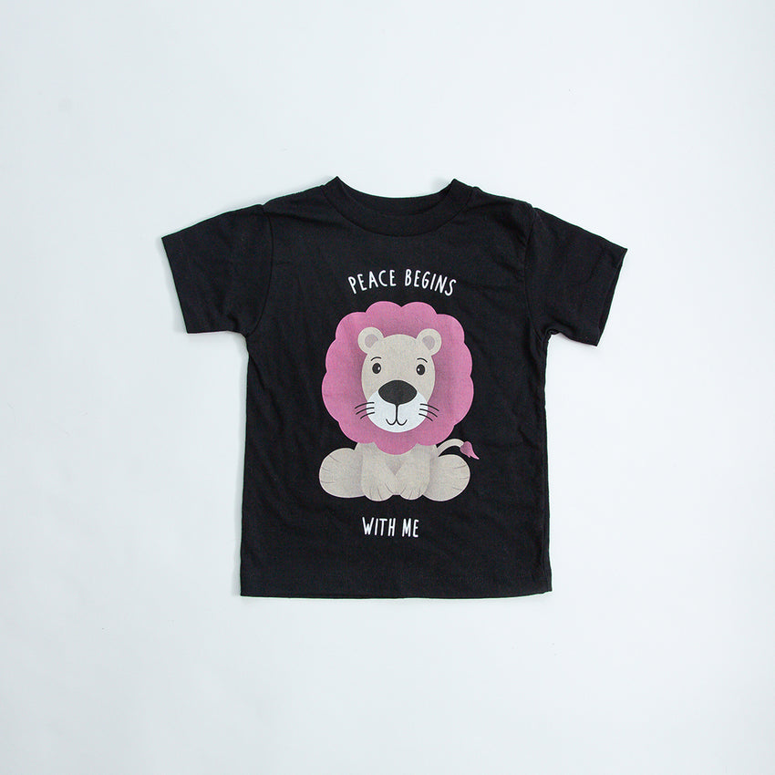 """Peace Begins With Me"" Lion Kids Shirt"