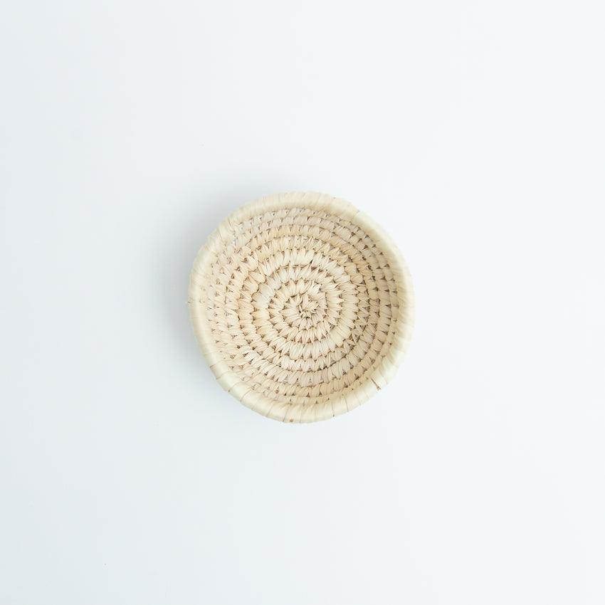 Hand-Woven Reed Small Round Basket