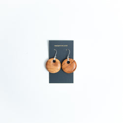 Wood Drop Circle Earrings