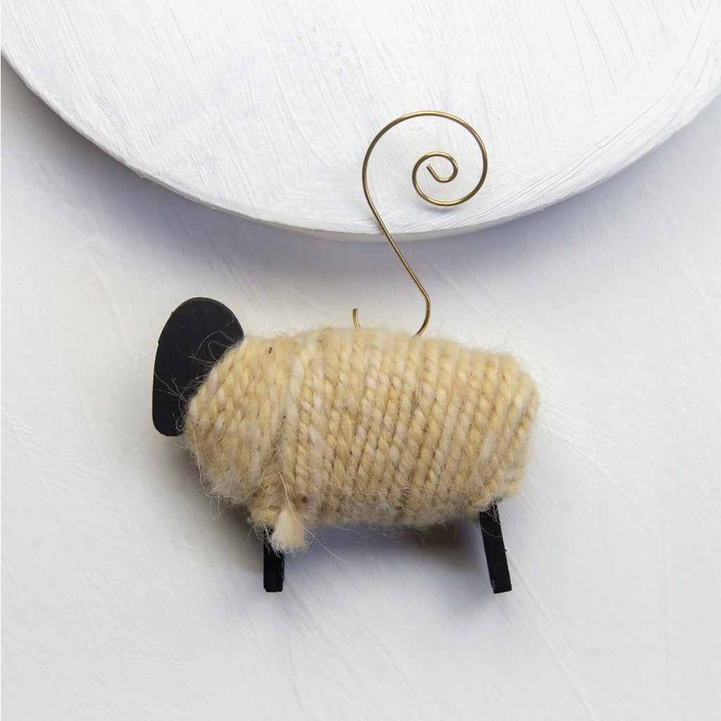 Posts to non UK only...Cute needlefelted Christmas Santa sheep door wreathhanger made from organic wool.
