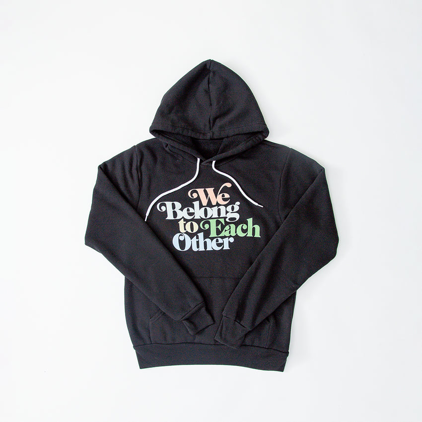 """We Belong To Each Other"" Vintage Unisex Hoodie, Black"