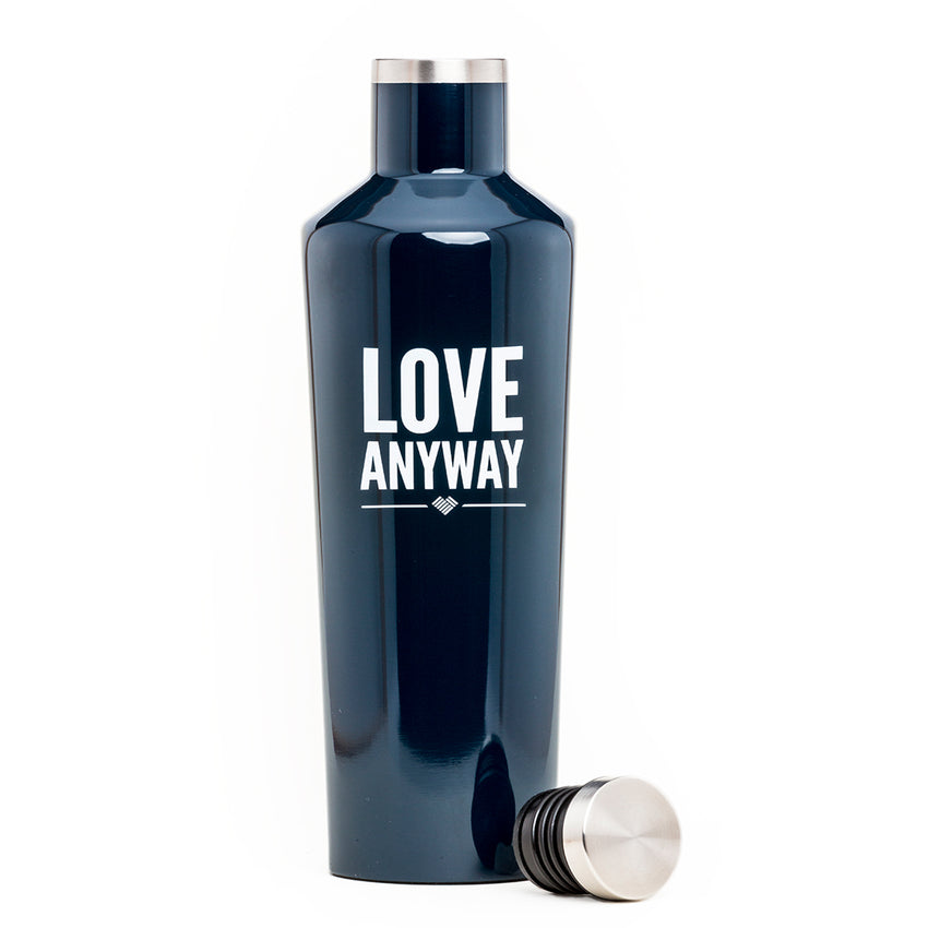 """Love Anyway"" Navy Water Bottle Canteen"