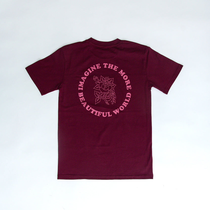 """Imagine the More Beautiful World"" Unisex Heavyweight T-Shirt, Burgundy & Pink"