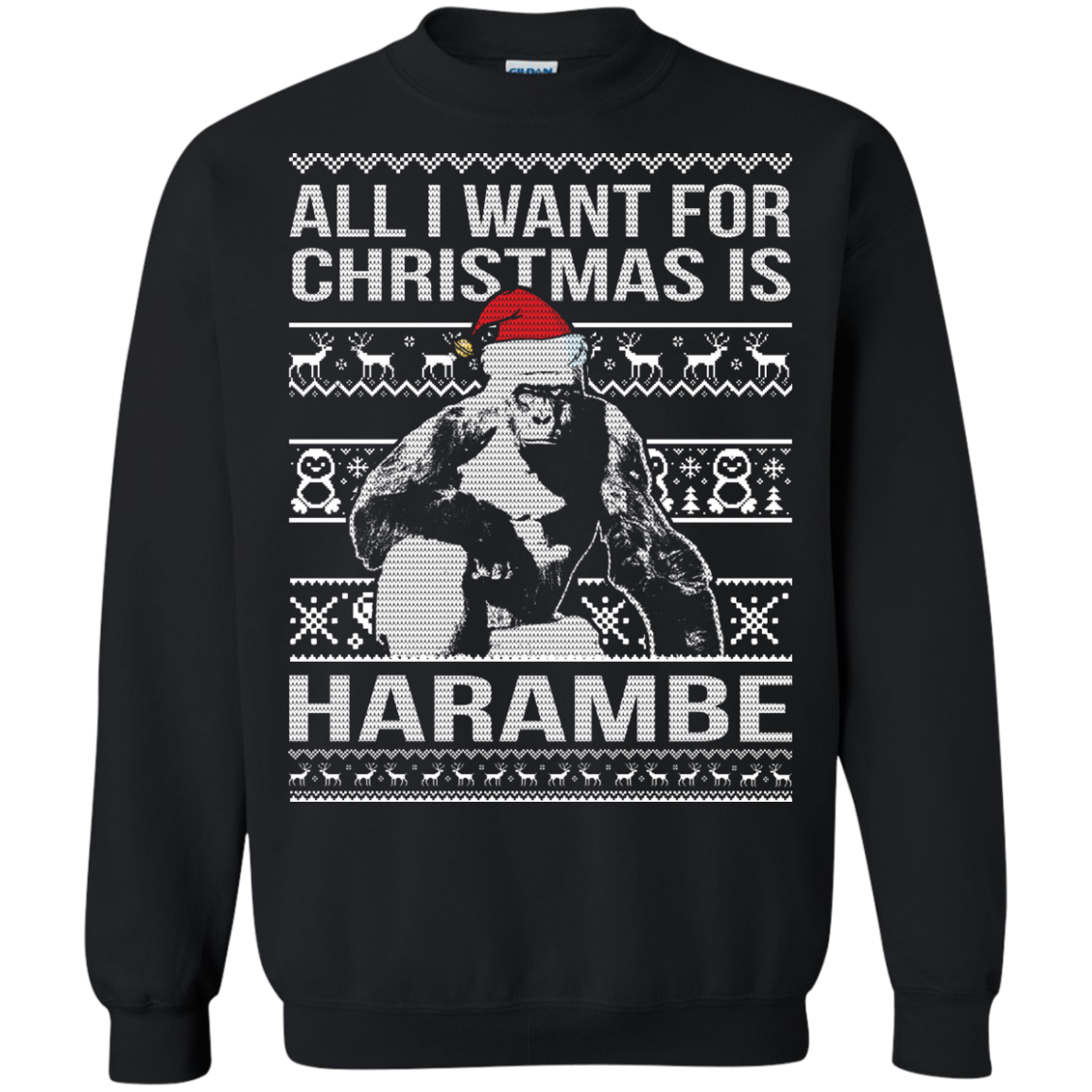 All I Want For Christmas Is Harambe Christmas Sweater Teedragons