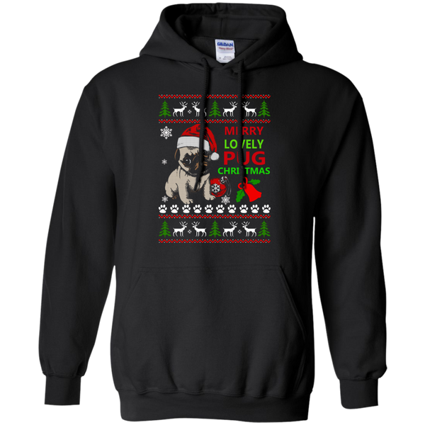 Merry Lovely Pug Christmas Sweater. Hoodie