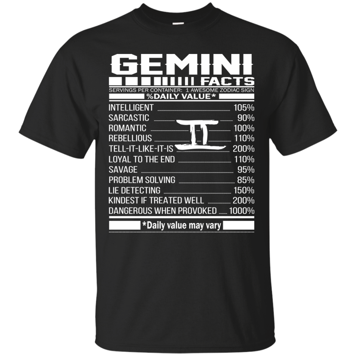 Gemini Facts – Awesome Zodiac Sign – %Daily Value Shirt, Hoodie, Tank