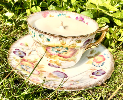 Gilded  floral bone china teacup & saucer - 1 wick candle  in  Lime, Basil & Mandarin