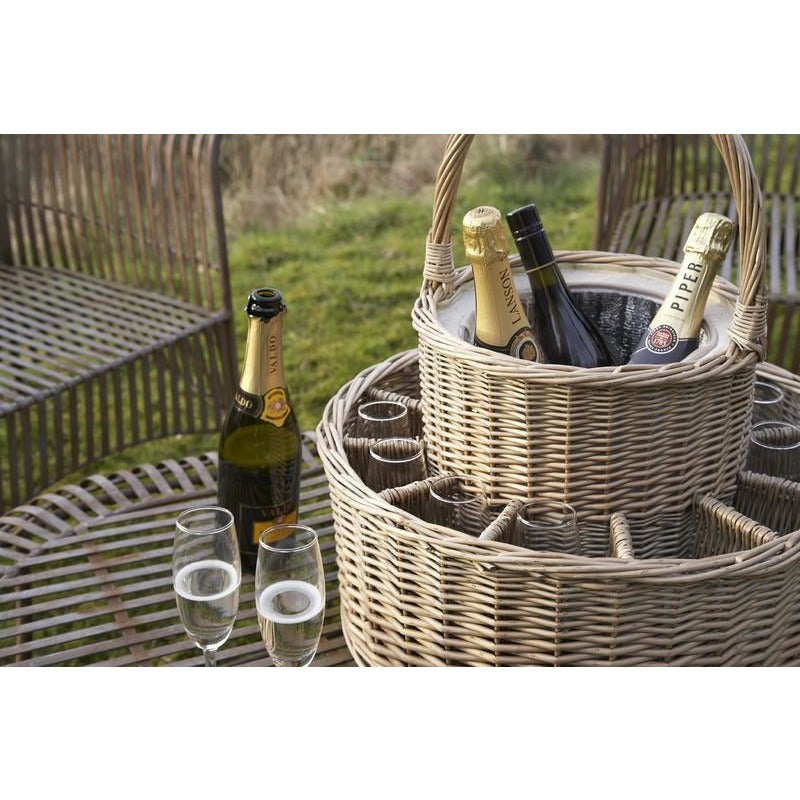 bottle and glasses basket