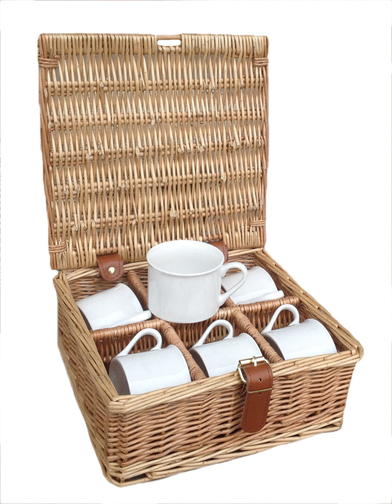 6 china picnic mugs in willow and leather hamper