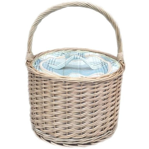 Willow Chiller Basket with cream Tartan