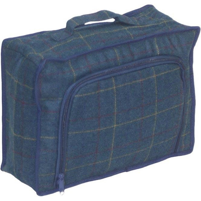 navy tweed picnic cooler bag